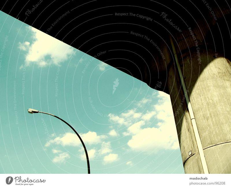 Sky Blue Beautiful City Summer Clouds Architecture Style Power Concrete Force Bridge Simple Lantern Street lighting Column