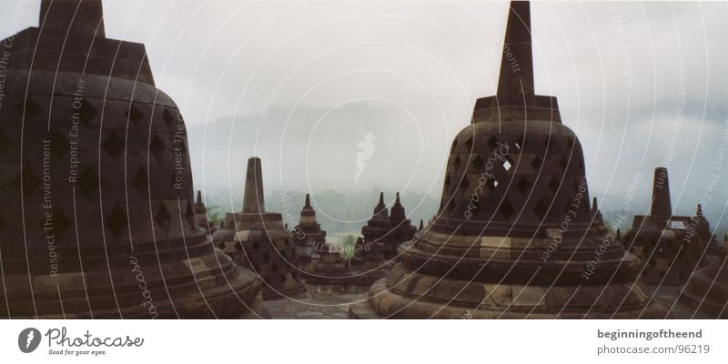 Temple Borobodur 2001 Indonesia Asia Buddhism Clouds Calm Exterior shot Religion and faith Insolvency House of worship Stone outside architecture morning