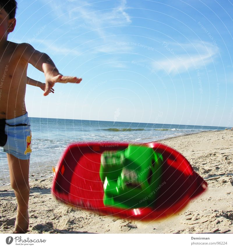 Child Blue Ocean Summer Beach Joy Clouds Playing Sand Watercraft Toys Anger Throw Playground Aggravation Denmark