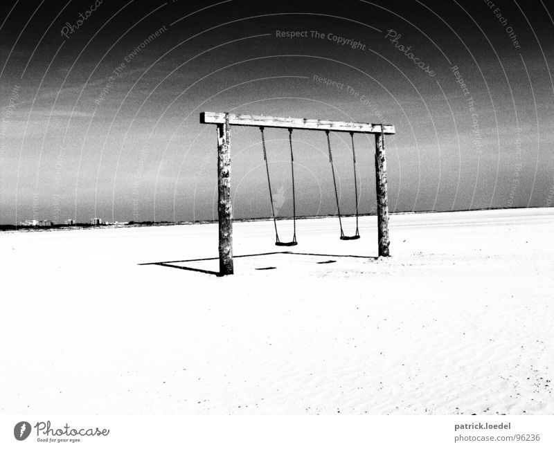 beach swing Black & white photo Exterior shot Deserted Copy Space bottom Contrast High-key Joy Cure Leisure and hobbies Vacation & Travel Far-off places Summer