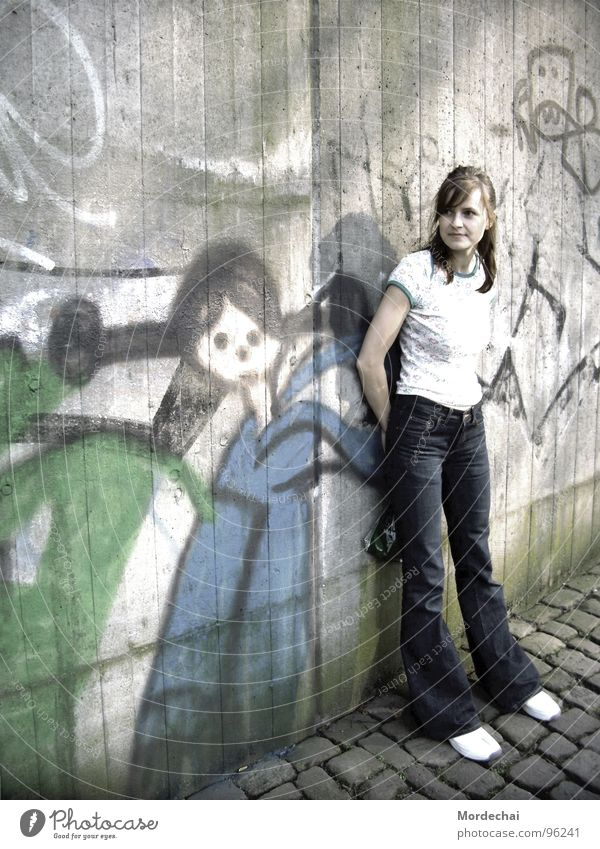 Woman Youth (Young adults) City Gray Wall (barrier) Graffiti Art Underground Mural painting