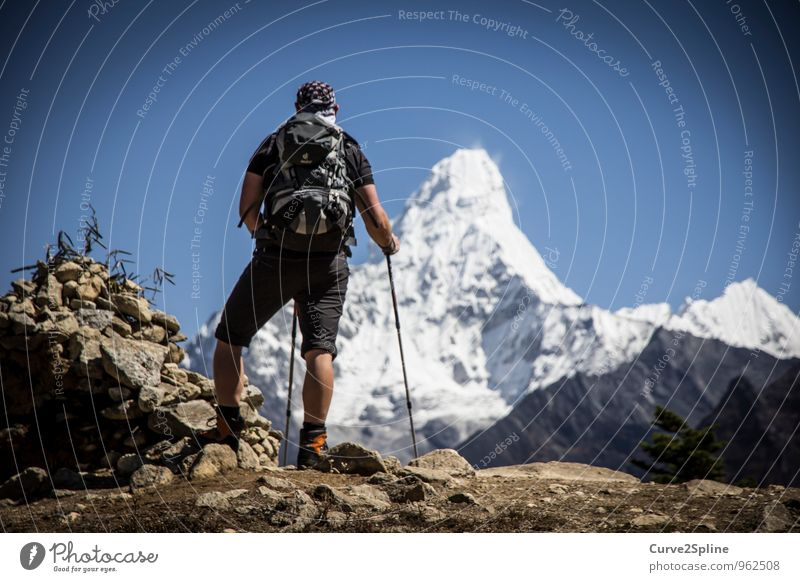 Ama Dablam Nature Elements Cloudless sky Ice Frost Snow Rock Mountain Peak Snowcapped peak Dream Hiking Himalayas Vantage point Freedom Mountaineering Stone