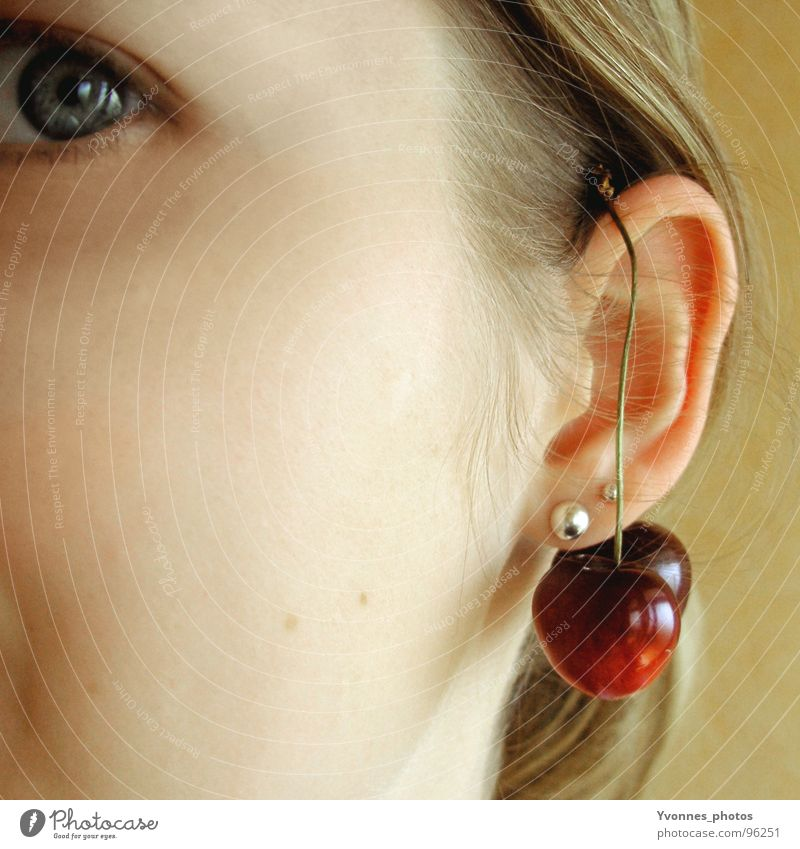 cherry eye Summer Cherry Jewellery Strand of hair Red Yellow Sweet Delicious Woman Square Style Youth (Young adults) Fruit Eyes Ear Earring Hair and hairstyles