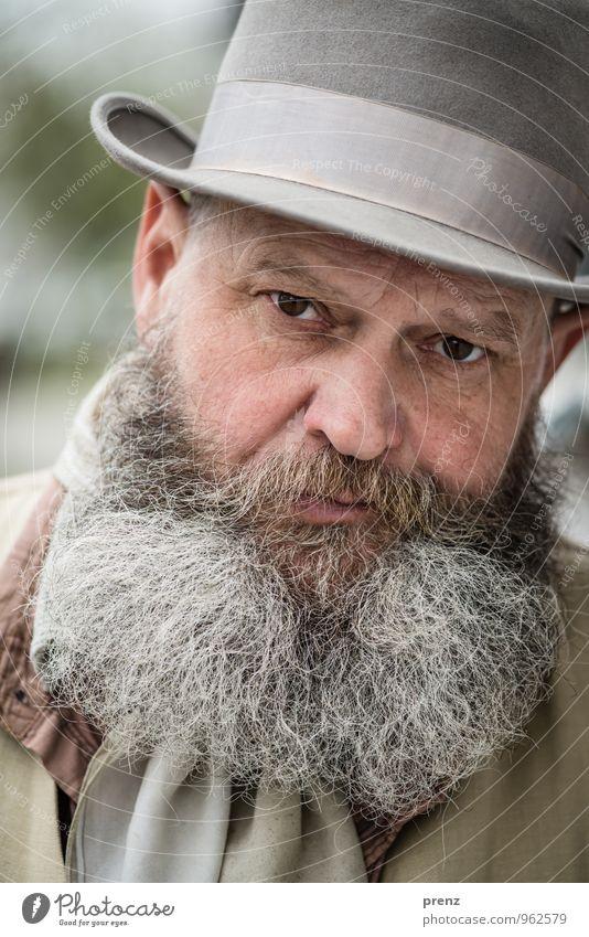 Human being Man Green Adults Face Gray Head Masculine Meditative 45 - 60 years Male senior Facial hair Hat
