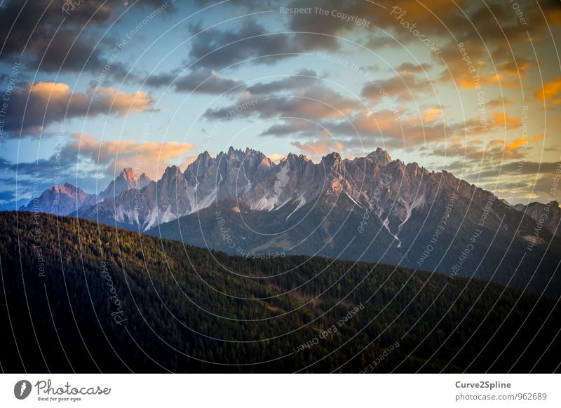 Dolomites Nature Elements Sky Clouds Sunrise Sunset Beautiful weather Rock Mountain Peak Authentic Snowfall Light Stone Point Colour photo Exterior shot