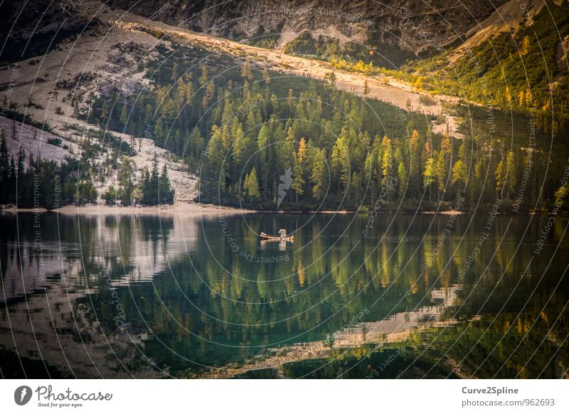canoe Nature Landscape Elements Water Driving Lakeside Pragser Wildsee Lake Dolomites Canoe Watercraft Forest Mountain Green Freedom Calm Boating trip