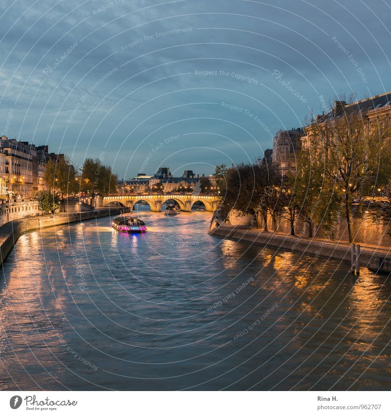 La Seine Vacation & Travel Tourism Trip Sightseeing Night life Sky Autumn Beautiful weather River bank Paris House (Residential Structure) Bridge Navigation