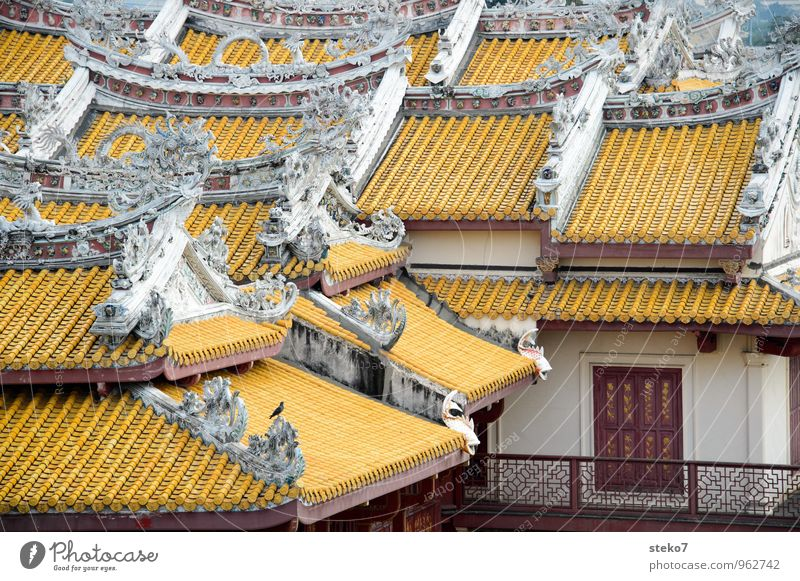 Vacation & Travel White Red House (Residential Structure) Yellow Perspective Roof Manmade structures Balcony Thailand Cliche Complex Ayutthaya King's palace