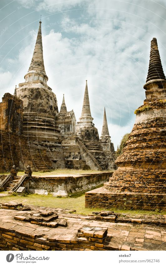 Architecture Religion and faith Transience Culture Manmade structures Hot Exotic Tourist Attraction Ruin Destruction Thailand Temple Ayutthaya