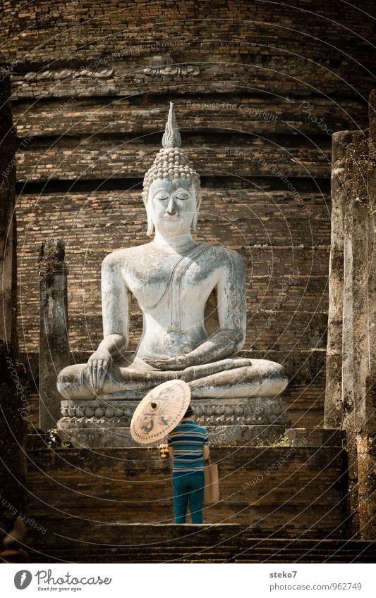 Human being Man Calm Adults Warmth Religion and faith Asia Past Decline Sunshade Tourist Attraction Ruin Prayer Thailand Temple Buddha