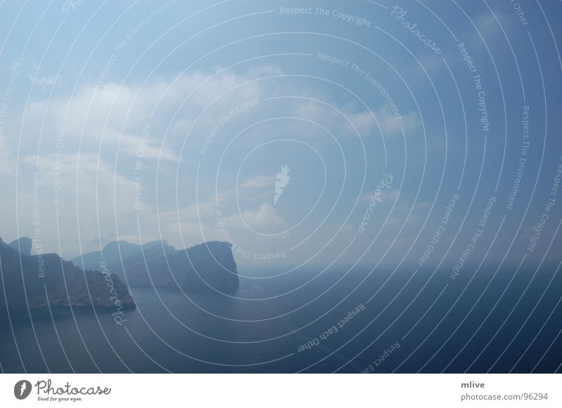 Water Sky Ocean Blue Far-off places Relaxation Dream Fog Wind Weather Horizon Rock Surf Majorca