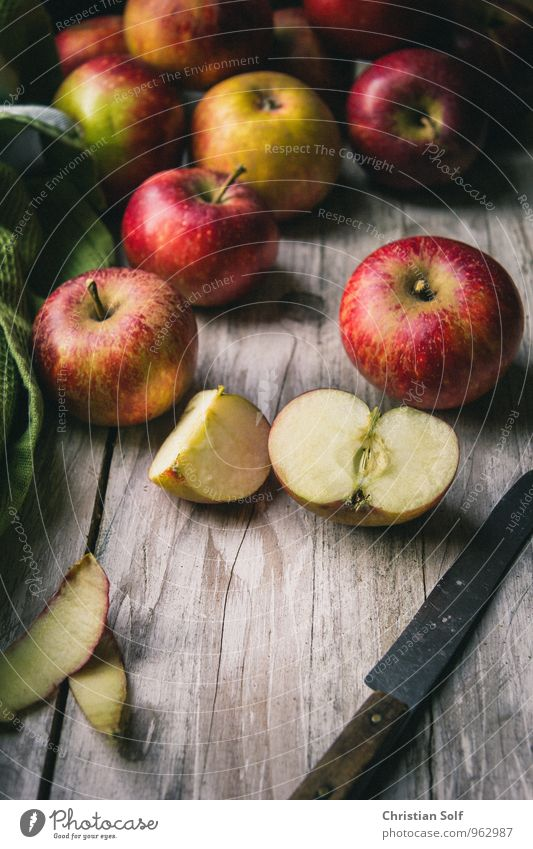 Organic apples from the region Food Fruit Apple Apple skin Organic produce Healthy Eating Vintage Natural Red Ecological Mature Harvest Vegetarian diet