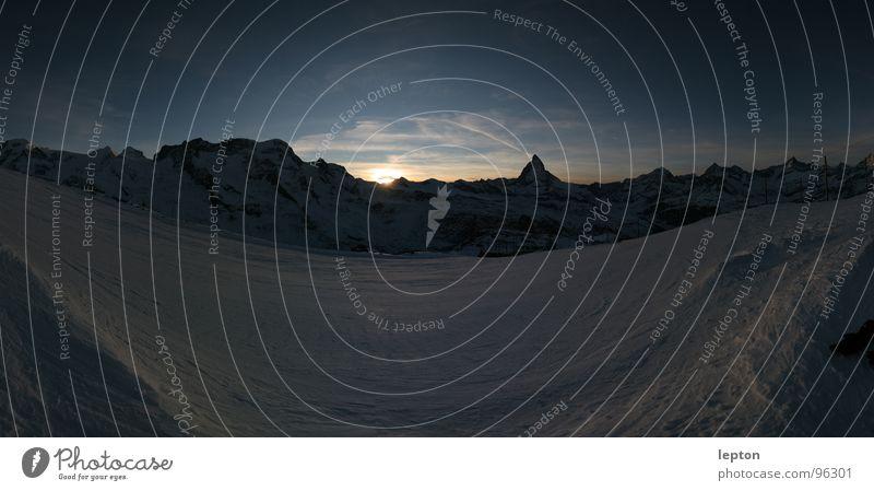Snow Mountain Moody Switzerland Dusk Mountain range Ski run Matterhorn Canton Wallis