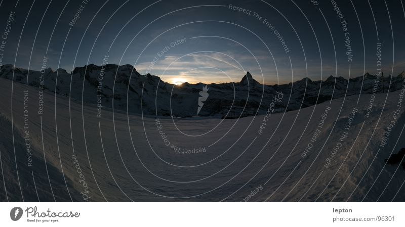 triangle Moody Sunset Mountain range Ski run Dusk Canton Wallis Switzerland Matterhorn Snow Evening