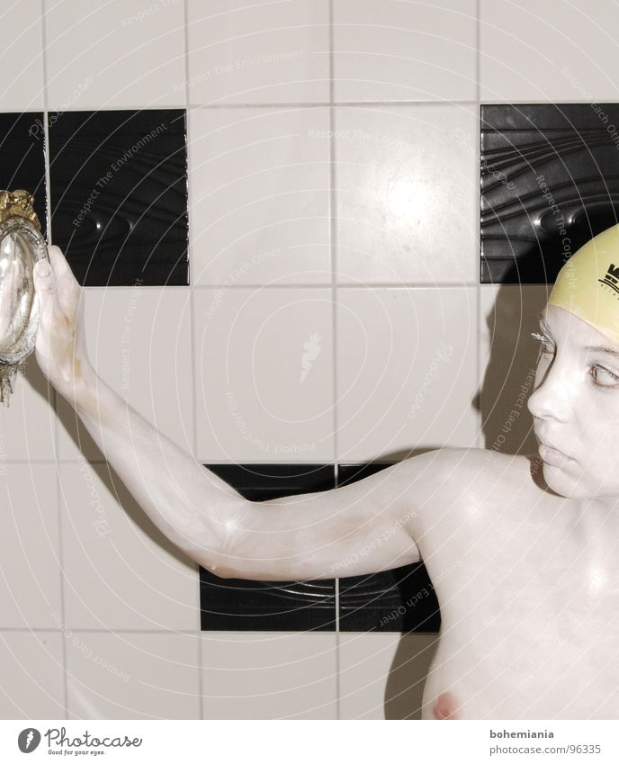 the other Bathroom Mirror Ancient Broken Yellow Nipple Red White Ambiguous Naked Grief Distress Woman Black & white photo Old bathing cap Exceptional Arm Search