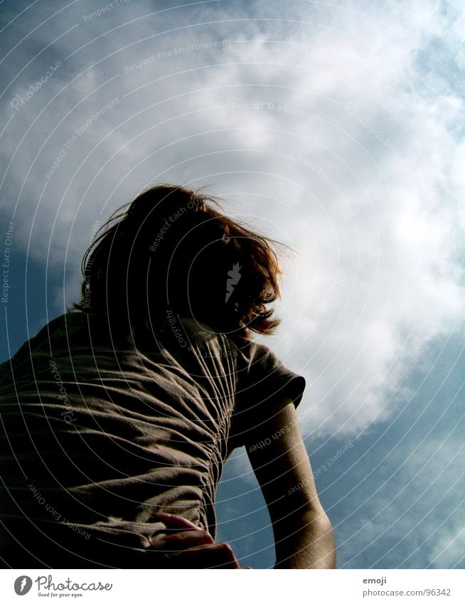 Human being Sky Joy Above Head Hair and hairstyles Perspective Under Idea Boredom Mop of curls
