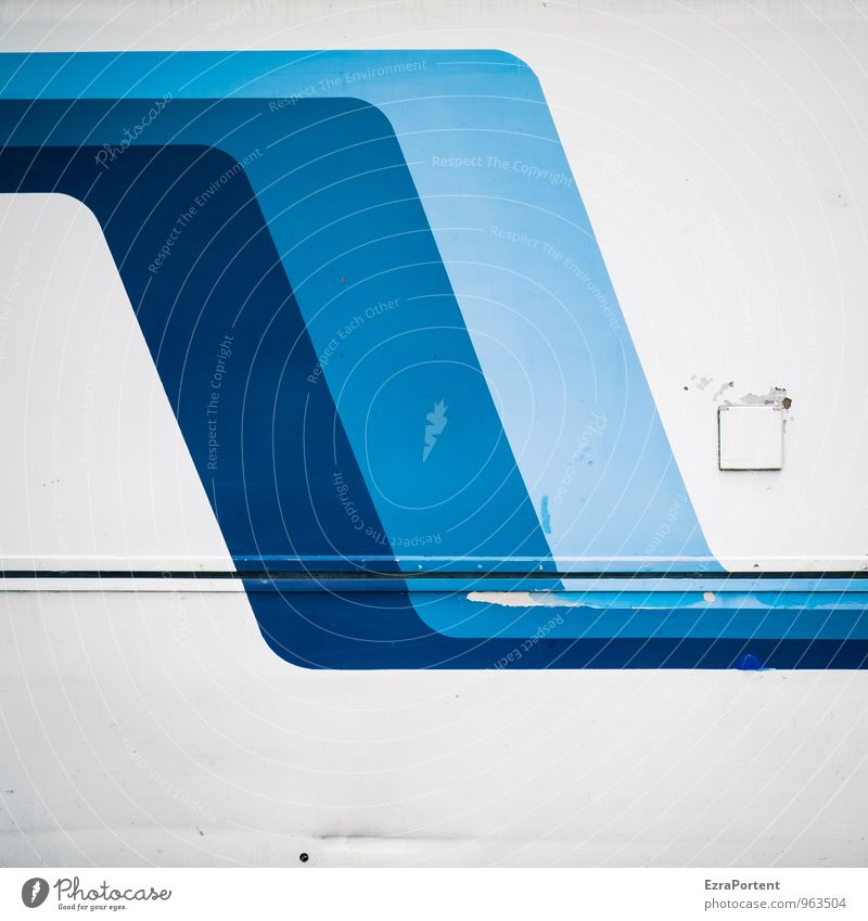 waves Style Design Vehicle Sign Characters Line Stripe Blue White Colour Illustration Graph Graphic Abstract Bulge Old Scratch mark Car body Metal Colour photo