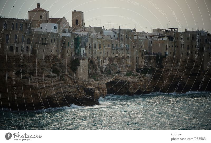 al Mare Summer Autumn Rock Coast Ocean Polignano a Mare Apulia Italy Europe Fishing village Small Town Port City Downtown Old town Deserted