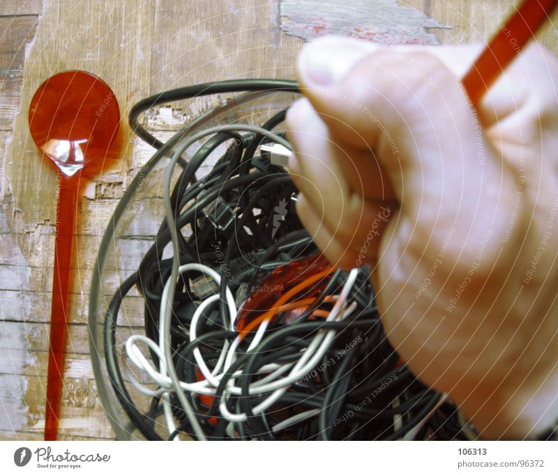 GOOD APPETITE: CABLE SPAGHETTI [2.AKT] Terminal connector Delicious Connector Nutrition Table Fork Salt caster Spoon White Red Black Hand Door handle Rotate