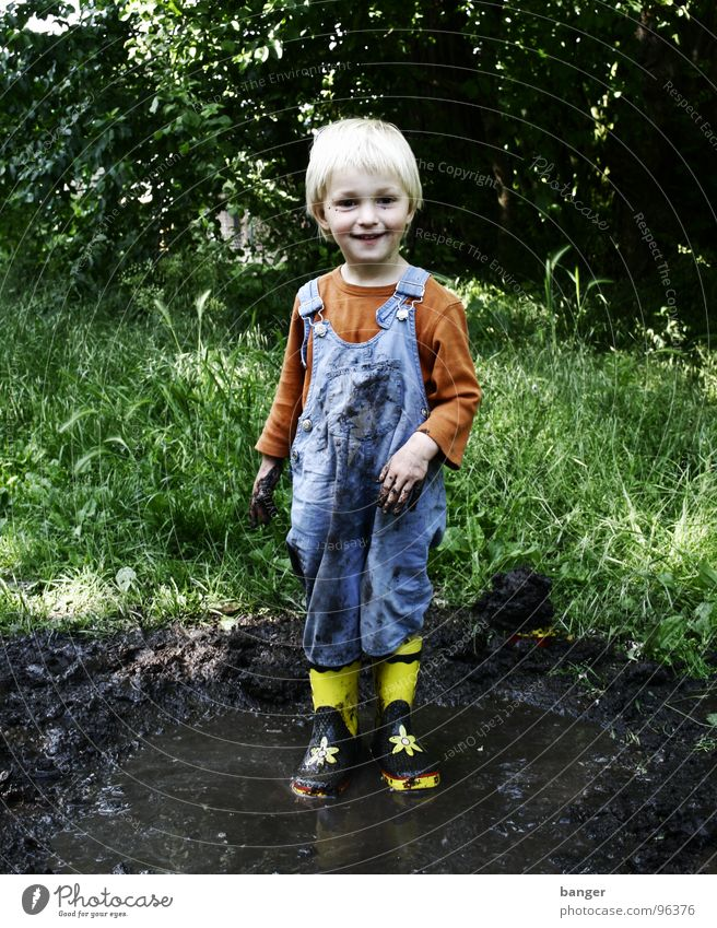 Child Water Joy Boy (child) Rain Dirty Wet Boots Puddle Rubber