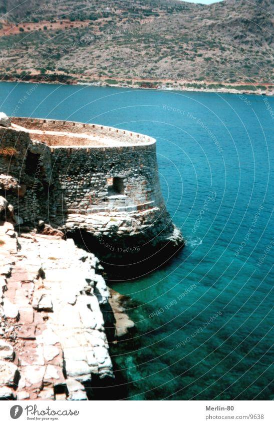 Old Lebrastation on Crete Fortress Europe liver resting station Sun blue water