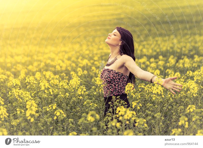 Human being Woman Nature Youth (Young adults) Plant Beautiful Summer Sun Young woman Relaxation Flower Landscape Calm Joy Eroticism 18 - 30 years