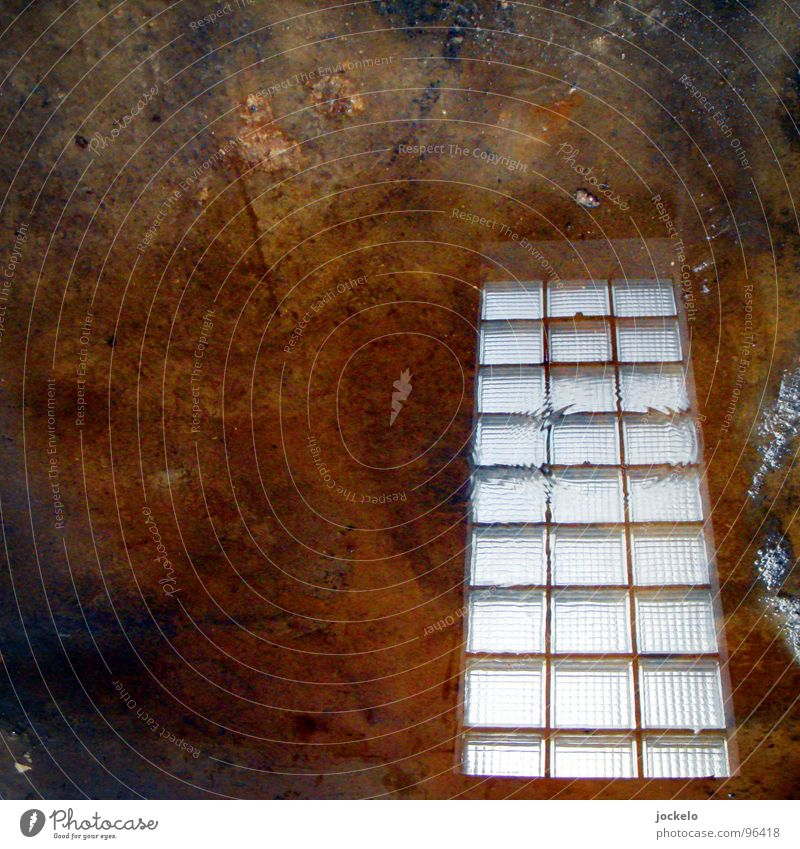 Water Window Dirty Drops of water Concrete Industry Floor covering Construction site Transience Craft (trade) Glass block Concrete floor