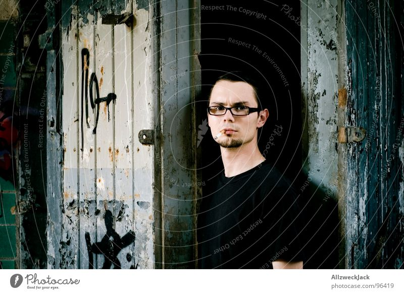 Human being Man Old Dark Graffiti Wait Dirty Going Door Open Stand Creepy Gate Derelict Shabby Self portrait