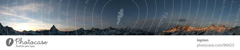 Mountain Large Horizon Switzerland Dusk Panorama (Format) Mountain range Matterhorn Canton Wallis Gornergrat