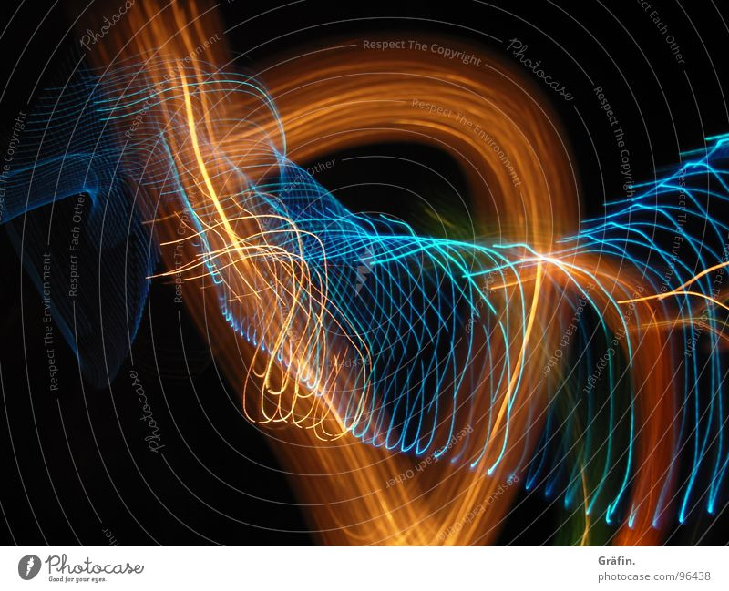 light dance Light Dark Night Black Multicoloured Red Orange-red Green Fresh Long exposure Exposure Spiral Waves Stripe Refraction Prongs Bright Reflection