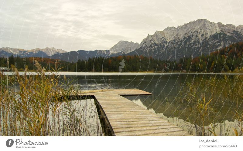 Autumn mood - Upper Bavaria Relaxation Calm Snow Mountain Hiking Clouds Bad weather Alps Snowcapped peak Lake Dark Moody Mittenwald Footbridge Common Reed