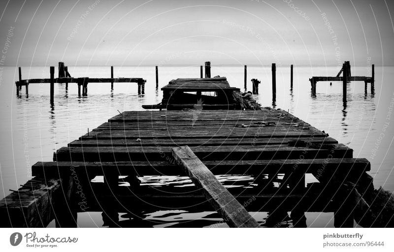 Water White Ocean Black Wood Sadness Lake Sand Coast Fog Bridge Broken Transience Derelict Footbridge Broken