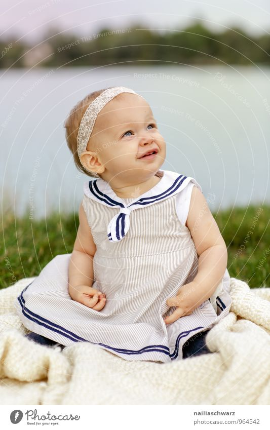 fortunate Feminine Child Baby Toddler Girl Infancy 1 Human being 0 - 12 months 1 - 3 years Nature Lakeside River bank Clothing Dress Bow Blonde Ceiling Observe