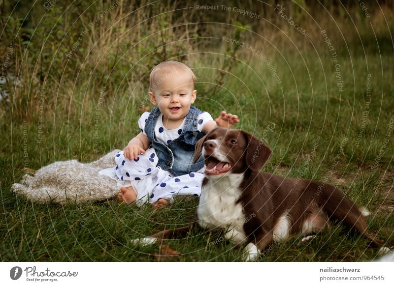Girl with the dog Human being Feminine Baby Toddler 0 - 12 months 1 - 3 years Summer Garden Meadow Clothing Dress Animal Pet Dog Touch Discover Communicate