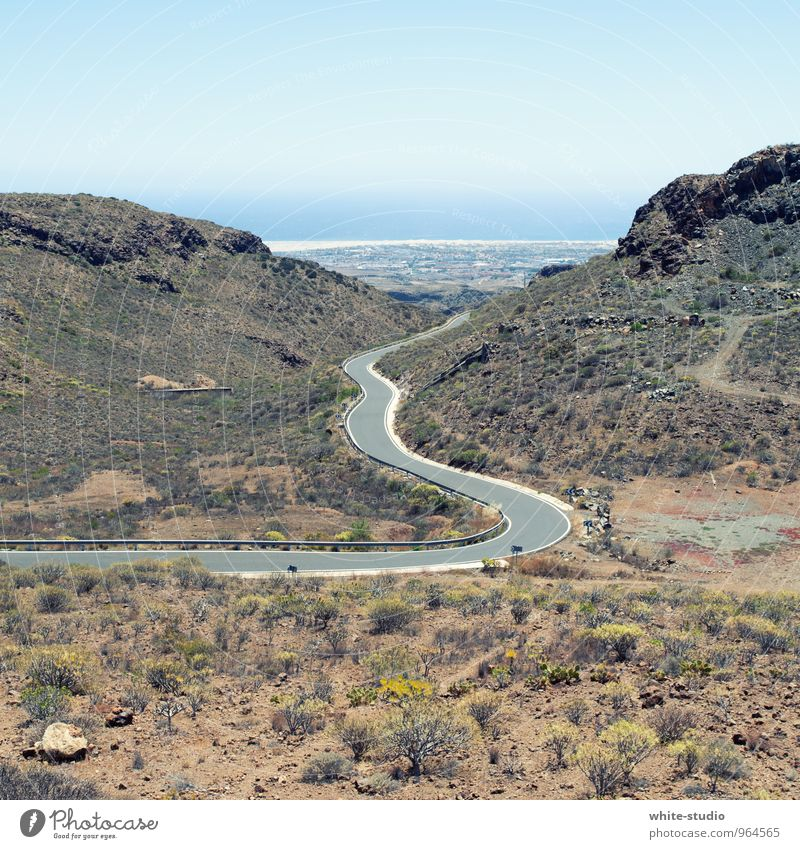 serpentine Populated Esthetic Pavement Street Winding road Curve Canyon Ocean strait Bushes Sparse Landscape Gran Canaria Tilt sinus Summer