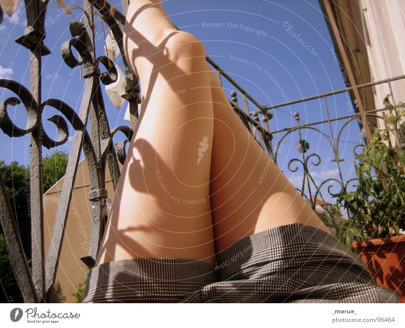 Woman Sun Summer Relaxation Feet Legs Balcony Sunburn