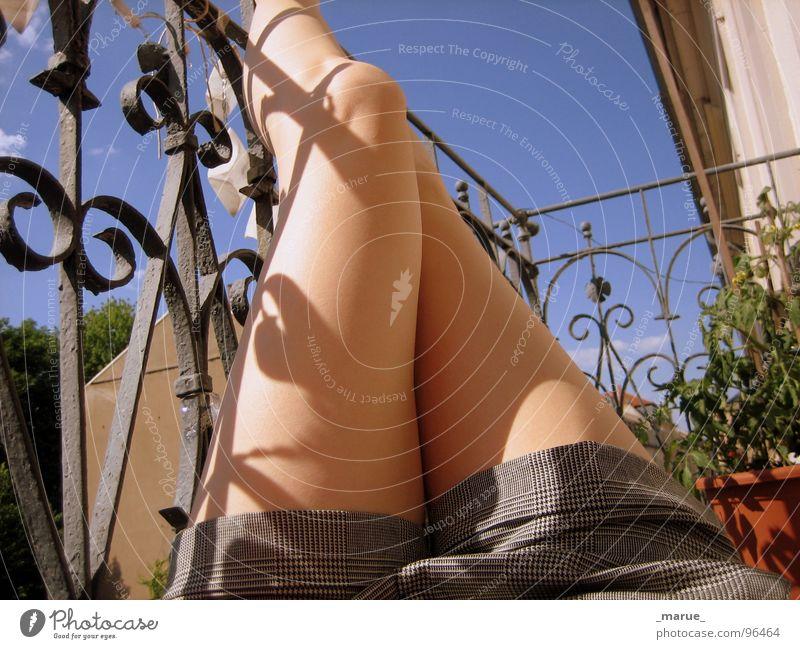 Woman Sun Summer Relaxation Feet Legs Balcony Sunburn