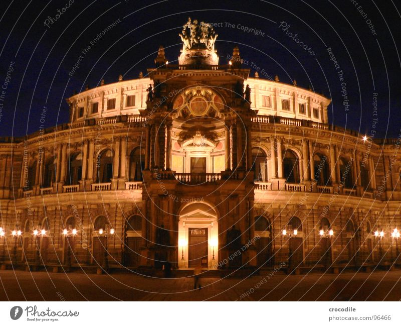 sämpa-opa Semper Opera Dresden Saxony Cultural monument Monument Round construction Long exposure Dark Night World heritage Landmark Column Old Shows