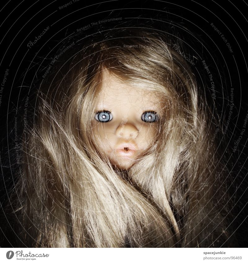 Blue Joy Eyes Hair and hairstyles Fear Blonde Sweet Threat Toys Creepy Wild animal Cute Doll Whimsical Evil