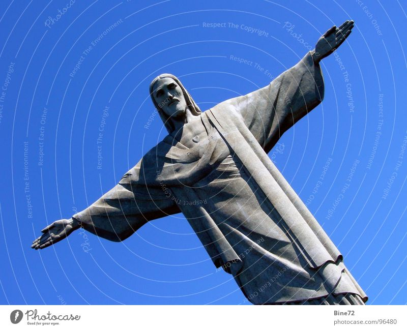 Statue of Christ - Rio de Janeiro Motionless Large Heavy Religion and faith Landmark South America Brazil Benediction Protector Corcovado-Botafogo Green