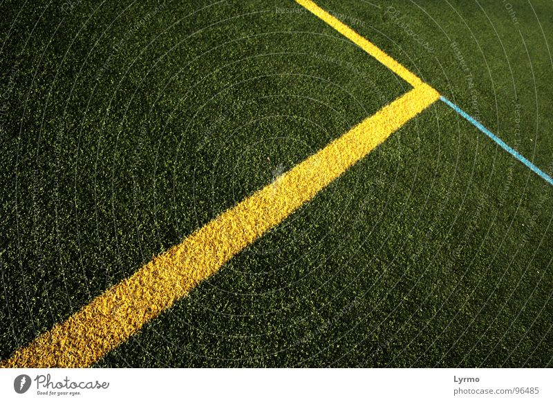 lines Leisure and hobbies Playing Sports Ball Deserted Park Places Line Blue Yellow Green Colour Vanishing point Lawn Illustration Colour photo Exterior shot