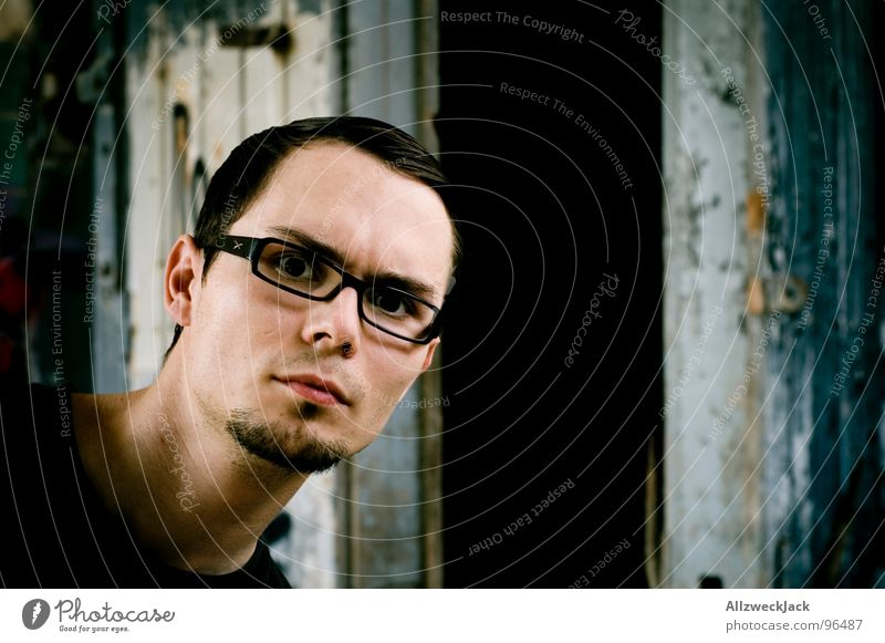 What's going on here?! Open Man Going Wooden door Gate Dark Dirty Creepy Portrait photograph Self portrait Release Stand Neutral Earnest Curiosity Eyeglasses