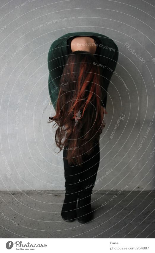. Feminine Young woman Youth (Young adults) 1 Human being Wall (barrier) Wall (building) Jacket Boots Brunette Red-haired Long-haired Stand Beautiful Eroticism