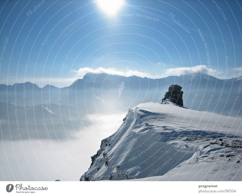 Far-sightedness into the Hohe Tauern Winter Skier Deep snow Hohen Tauern NP White Infinity Cold Soft Austria Exterior shot Landscape format Beautiful Mountain