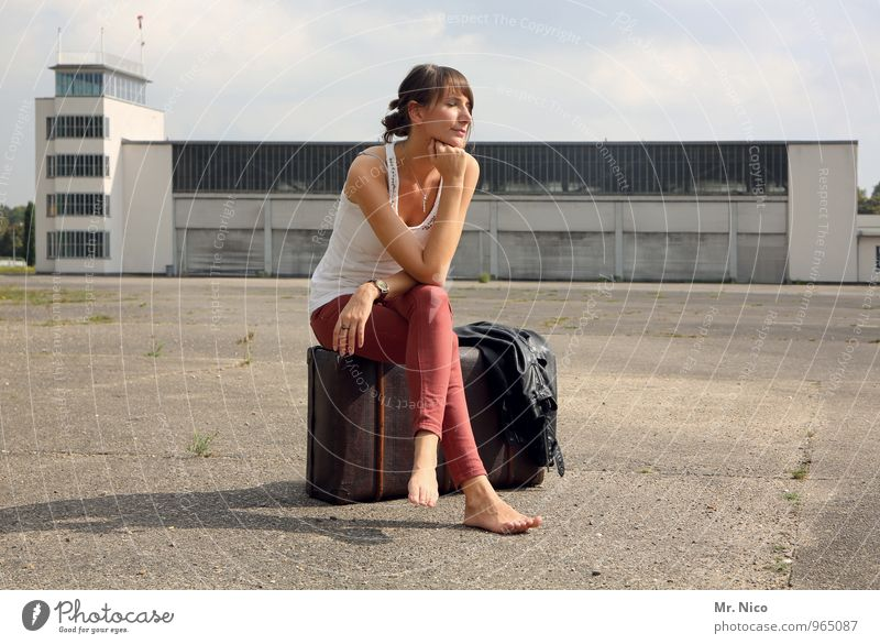 Human being Vacation & Travel Calm Feminine Building Time Fashion Lifestyle Tourism Sit Wait Trip To enjoy Longing Summer vacation Air Traffic Control Tower