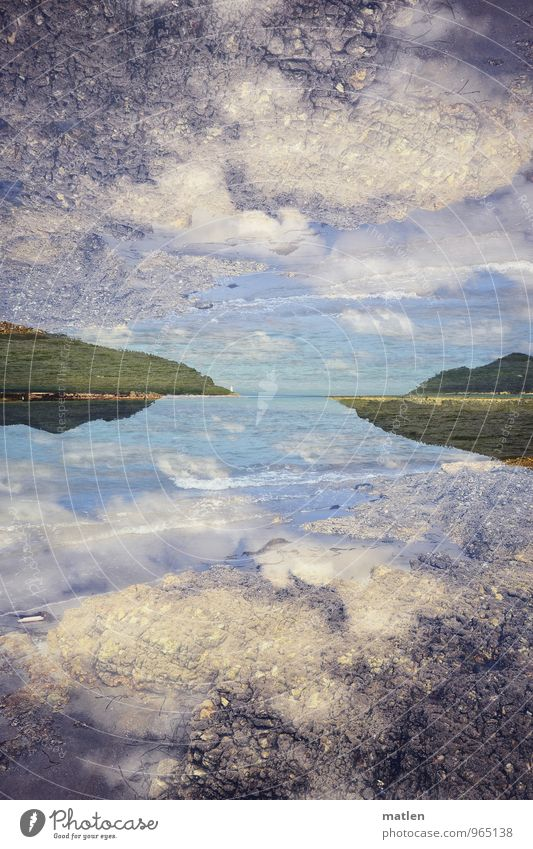 Heaven and earth Landscape Sky Clouds Horizon Weather Beautiful weather Grass Forest Hill Mountain Coast Bay Ocean Blue Green White Double exposure Colour photo