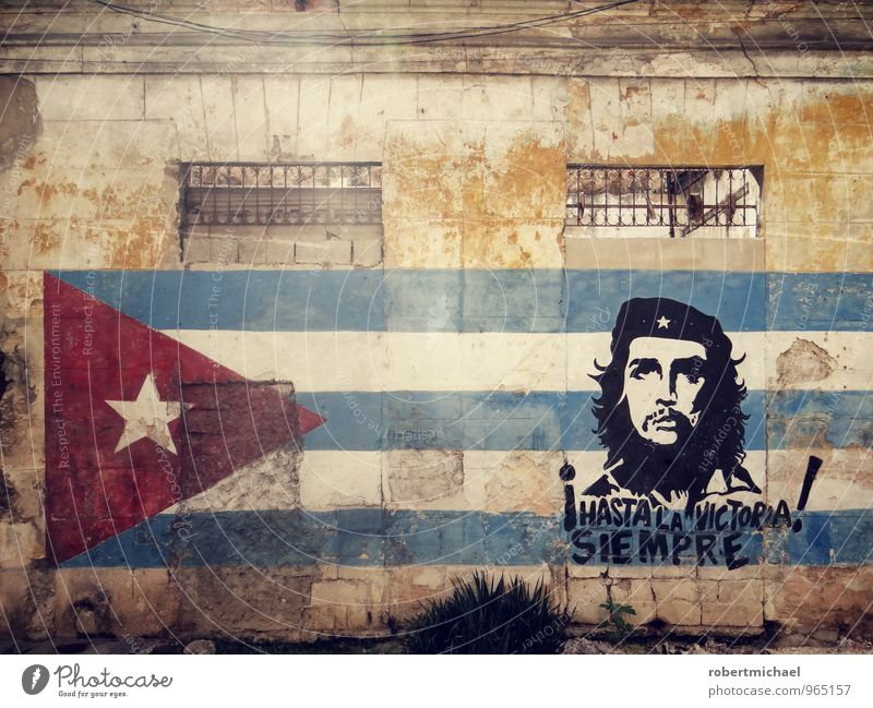 Wall (building) Wall (barrier) Art Facade Success Star (Symbol) Culture Flag Painting and drawing (object) Landmark Fight Work of art Cuba Rebellious Famousness