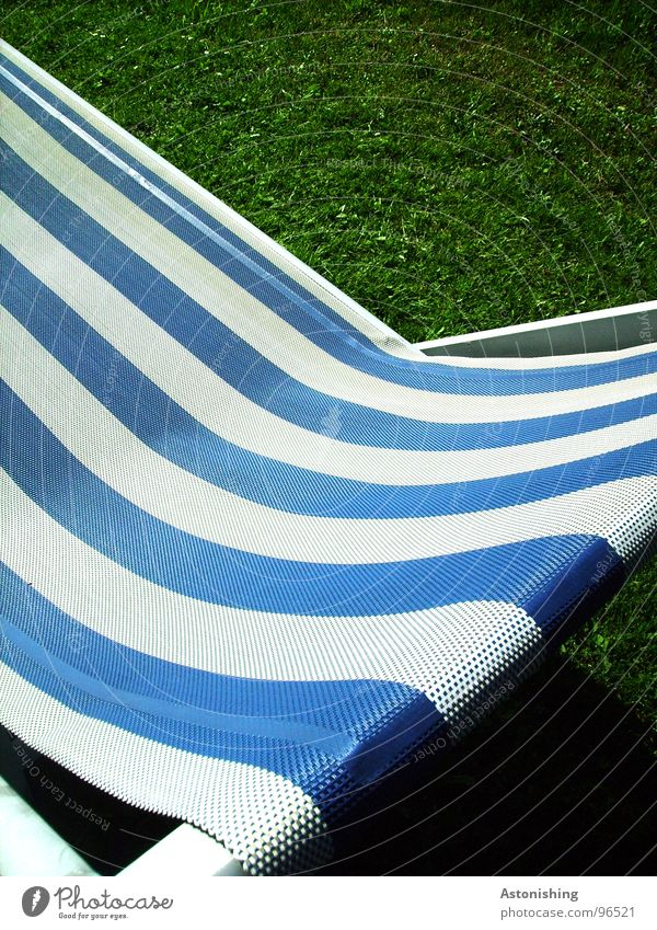 the blue stripes Relaxation Calm Leisure and hobbies Vacation & Travel Summer Plant Grass Cloth Stripe Blue Green White Couch Striped Cloth pattern Colour photo