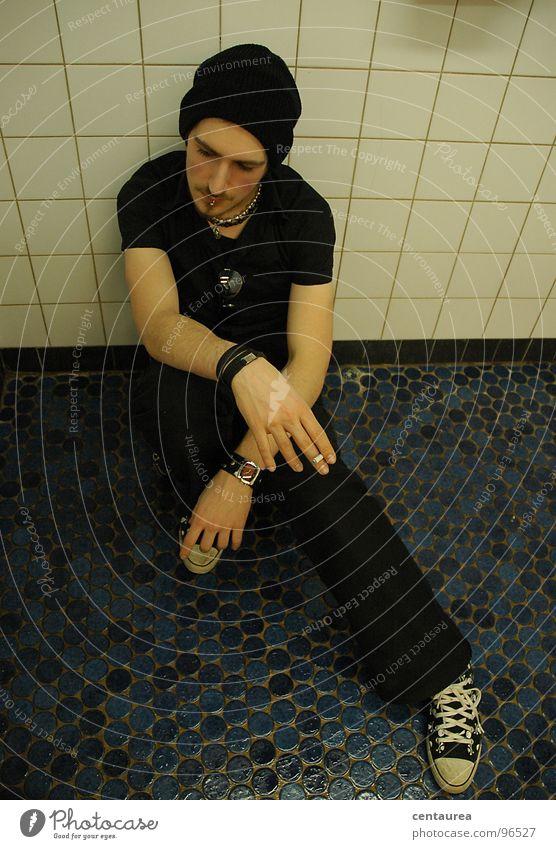 Man Black Life Dream Sadness Think Grief Cool (slang) Bathroom Break Desire Longing Tile Cigarette Guy Distress