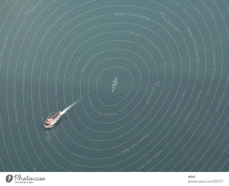 Lonely ship Watercraft Lake Navigation Lake Lucerne Waves Foam White crest Switzerland Deep Wet akai